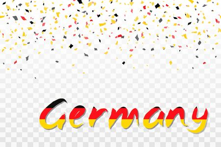 Happy German Unity Day design inflated balloons, flying confetti and text. Decorative realistic design elements for Germany national holidays. Symbol of Germany.  Vector illustration Imagens - 130781409