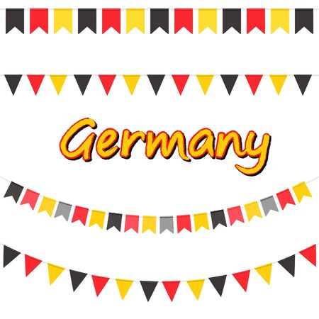 Set of Germany garlands flags in traditional colors. Decorative realistic design elements for Germany national holidays. Symbol of Germany. Vector illustration Imagens - 130781410
