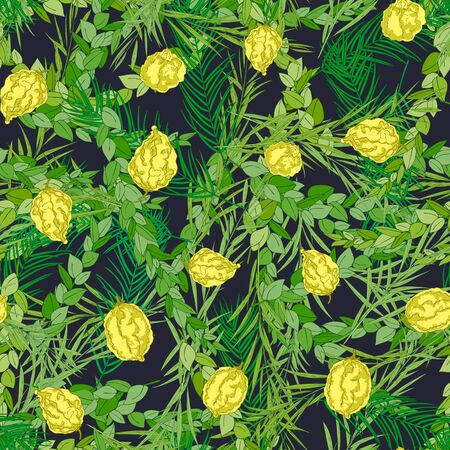 Happy Sukkot seamless pattern. Jewish holiday huts endless background. Repeated texture with branches of myrtle, willow, palm, citron fruits. Vector illustration Imagens - 130781413
