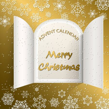 Christmas advent calendar doors open and golden letters. White snowflakes on a golden background. Vector illustration Ilustração
