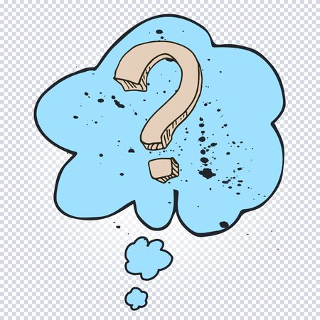 Cartoon question mark with thought bubble on a white background. Question mark in grunge retro style. Vector illustration. Иллюстрация