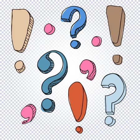Set of hand drawn dot, comma, exclamation and question marks on a transparent background. Cartoon punctuation marks in grunge texture style. Vector illustration.
