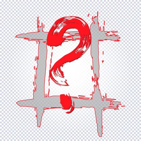 Hand drawn doodle question mark and grunge frame on a transparent background. Cartoon punctuation marks in grunge texture style. Vector illustration.