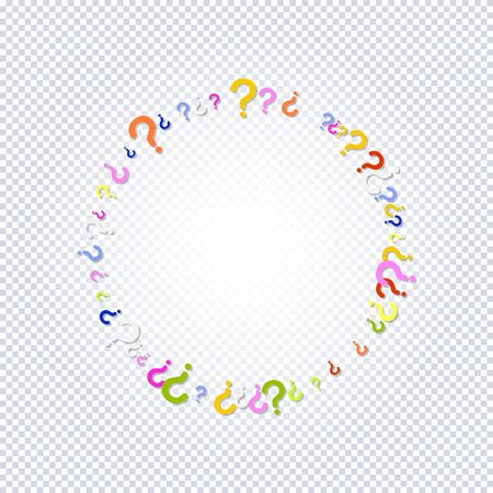 Pattern of rainbow question marks scattered circle shaped on a transparent background. Colorful poll template. Design for query background, faq, interrogation,  quiz, poll. Vector illustration Illusztráció
