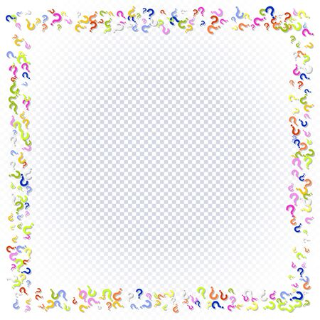 Rectangular frame of question marks scattered on a transparent background. Colorful poll template. Design for query background, faq, interrogation,  quiz, poll. Vector illustration