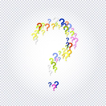 Pattern of rainbow question marks on a transparent background. Colorful poll template. Design for query background, faq, interrogation,  quiz, poll. Vector illustration Illusztráció