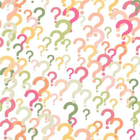 Seamless pattern of question marks scattered on a white background. Colorful poll template. Design for query background, faq, interrogation,  quiz, poll. Vector illustration
