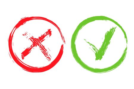Acceptance and rejection symbol. Green checkmark OK and red X icons isolated on white background. Button for Check list marks, choice options, survey signs, vote, decision, web. Vector illustration