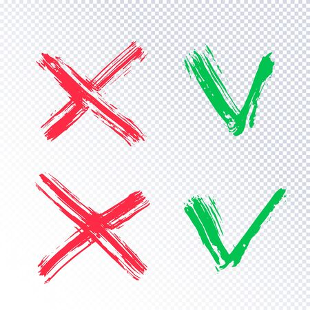 Acceptance and rejection symbol. Green checkmark OK and red X icons isolated on transparent background. Button for Check list marks, choice options, survey signs, vote, decision, web. Vector Imagens - 130781439