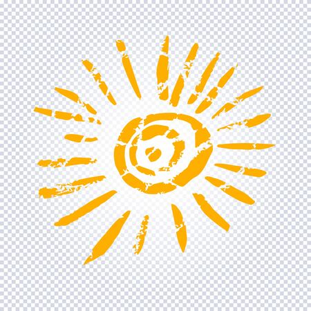 Yellow Stylized Sun in Inky Painted.  Vector illustration for magazine, poster, book cover, banner, flyer, booklet. Foto de archivo - 130781440