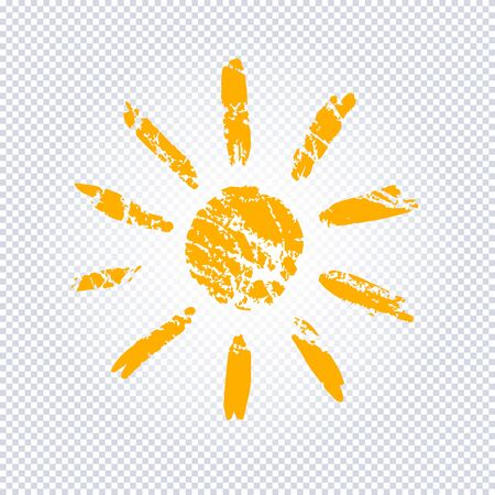Yellow Stylized Sun in Inky Painted.  Vector illustration for magazine, poster, book cover, banner, flyer, booklet. Foto de archivo - 130781442