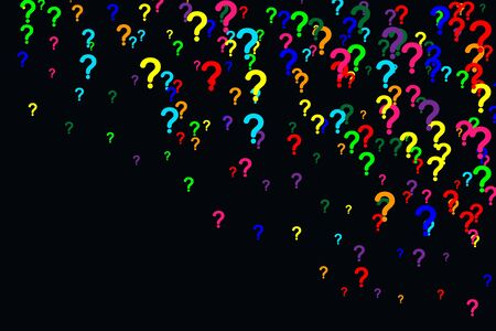 Horizontal pattern of question marks scattered on a black background. Colorful poll template. Design for query background, faq, interrogation,  quiz, poll. Vector illustration Imagens - 130781445