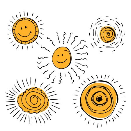 Set of sun symbols hand drawn  in cartoon style. Vector illustration of isolated sun icons on a white background. Imagens - 130781444