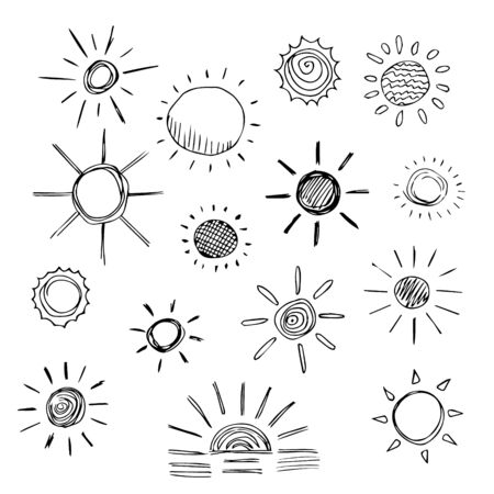 Set of sun symbols hand drawn  in cartoon style. Vector illustration of isolated sun icons on a white background.