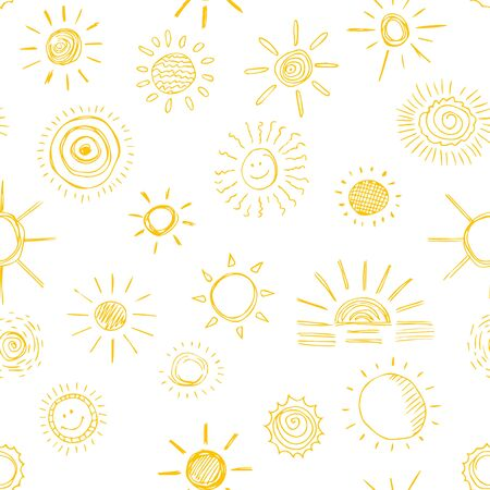 Seamless pattern of sun symbols hand drawn  in cartoon style. Vector illustration of isolated sun icons on a white background. Imagens - 130781446