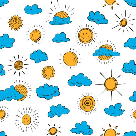 Seamless pattern of weather symbols hand drawn  in cartoon style. Vector illustration of isolated weather icons on a white background. Weather forecast meteorology and climate symbols. Illustration