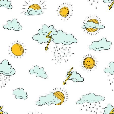 Seamless pattern of weather symbols hand drawn  in cartoon style. Vector illustration of isolated weather icons on a white background. Weather forecast meteorology and climate symbols. Imagens - 130781448