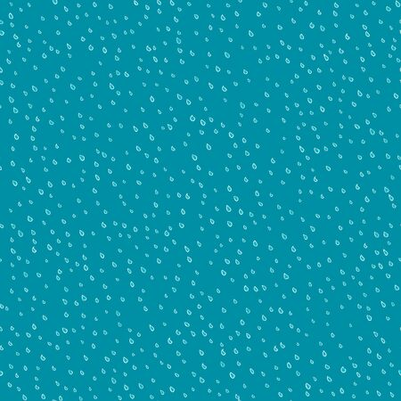 Seamless pattern of raindrops hand drawn  in cartoon style. Vector illustration of isolated weather icons on a blue background. Weather forecast meteorology and climate symbols