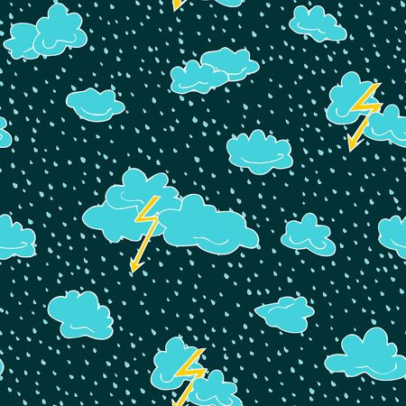 Seamless pattern of lightning, clouds and raindrops hand drawn  in cartoon style. Vector illustration of isolated weather icons on a blue background. Weather forecast meteorology and climate symbols Imagens - 130781453