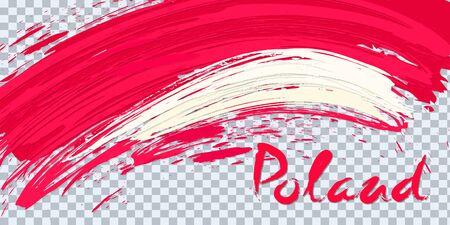 Grunge brush stroke with Poland national flag on a transparent background. Design of a symbol, poster, banner. Vector illustration on transparent background.