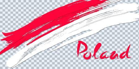 Grunge brush stroke with Poland national flag on a transparent background. Design of a symbol, poster, banner. Vector illustration on transparent background. Imagens - 130781458
