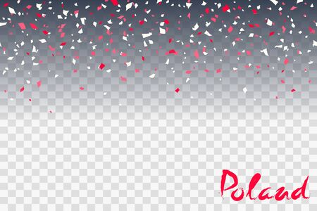 11th of November. Poland Independence Day Background. Red and white confetti, lettering on a transparent background. Creative concept for banners, posters and print. Vector illustration Imagens - 130781460