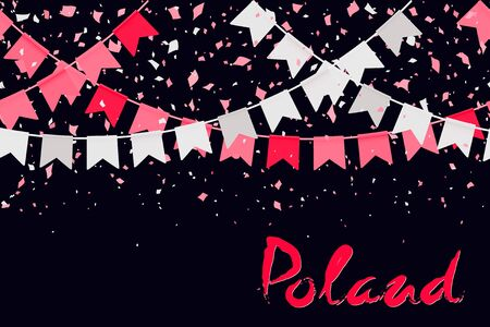 11th of November. Poland Independence Day Background. Red white confetti and flag garlands, lettering on a transparent background. Creative concept for banners, posters and print. Vector illustration