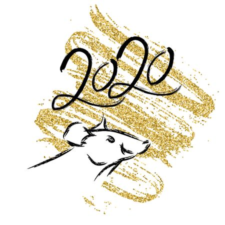 Happy chinese new year 2020 Zodiac sign Rat with on a background of golden confetti. Zodiac sign for greetings card, flyers, invitation, posters, brochure, banners, calendar. Vector illustration