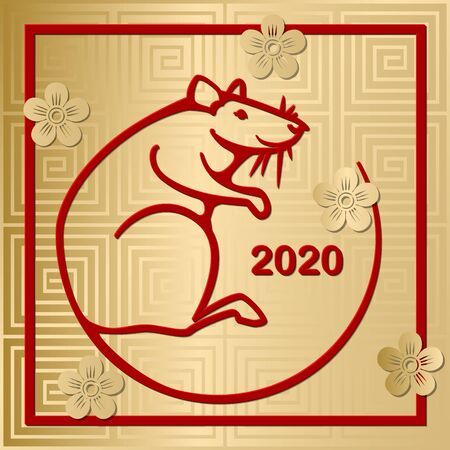 Happy chinese new year 2020 Zodiac sign with gold paper cut art and craft style. Zodiac sign for greetings card, flyers, invitation, posters, brochure, banners, calendar. Vector illustration Imagens - 130781469