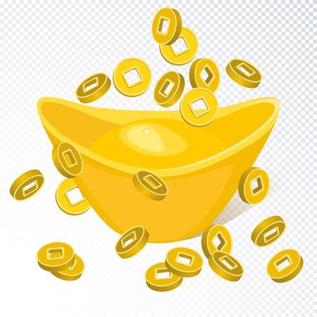 Chinese golden ingot  and falling chinese coins isolated on transparent background. Chinese gold ingot realistic. Vector illustration for Chinese new year