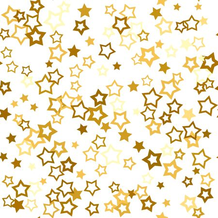 Gold stars confetti. Seamless pattern random starry fall. Luxury shiny little random stellar falling  on white background. New Year and Christmas background.  Vector illustration.