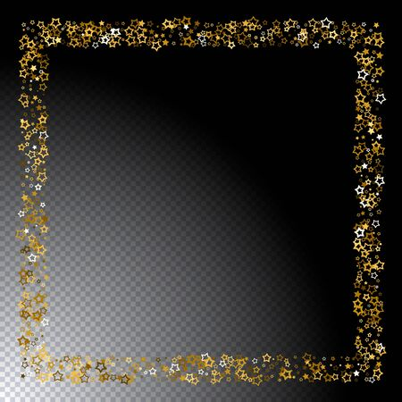 Gold stars confetti. Luxury shiny little random stellar falling  on black transparent background. Frame of little shining stars. New Year and Christmas background.  Vector illustration.
