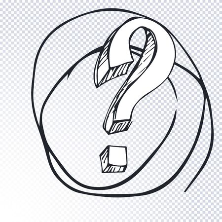 Cartoon question mark with round frame on a transparent background. Question mark in grunge retro style. Vector illustration.  イラスト・ベクター素材