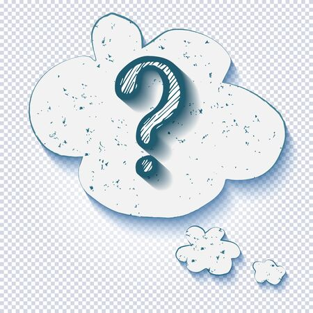 Cartoon question mark with thought bubble on a transparent background. Question mark in grunge retro style. Vector illustration.