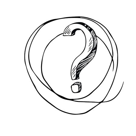Cartoon question mark with round frame on a white background. Question mark in grunge retro style. Vector illustration.