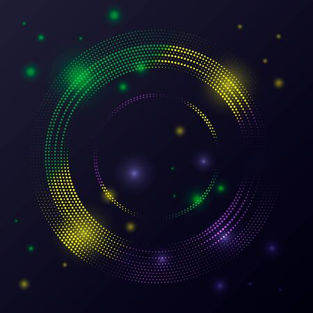 Bright festive background Mardi Gras. Round frame from green, yellow, purple violet confetti on a black background. Beautiful design for Carnival, Mardi Gras, Holiday decoration. Vector