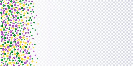 Seamless horizontal pattern beautiful yellow, green, purple beads on a white background. Mardi Gras Party. Vector Design with carnival symbol