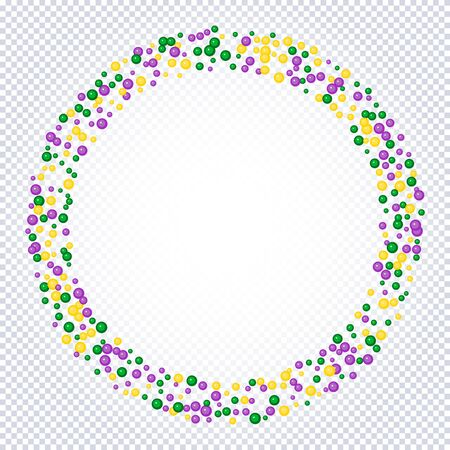 Beautiful yellow, green, purple beads on a transparent background. Mardi Gras Party. Venetian carnival mardi gras party.  Vector Design with carnival symbol