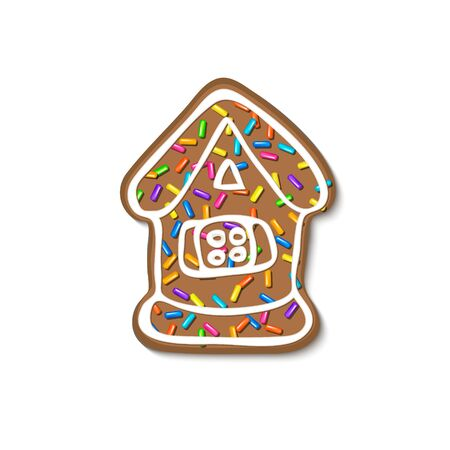 Christmas gingerbread sprinkles grainy. Sweet confetti on white chocolate glaze and Christmas gingerbread. Vector Illustration for holiday designs, party, birthday, invitation. Ilustração