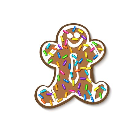 Christmas gingerbread sprinkles grainy. Sweet confetti on white chocolate glaze and Christmas gingerbread. Vector Illustration for holiday designs, party, birthday, invitation.  イラスト・ベクター素材