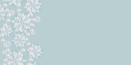Horizontal seamless pattern for Merry Christmas and New Year. Modern flat design. Christmas and New Year background. Holiday Wallpaper. Winter infinite background. Snowflakes seamless pattern. Vector Ilustracja
