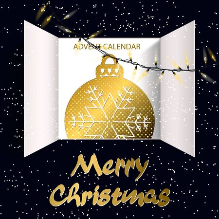 Christmas advent calendar doors open and christmas light bulbs. White snow, garlands of luminous bulbs, golden ball and an open wide window on blue background. Merry Christmas poster concept. Vector