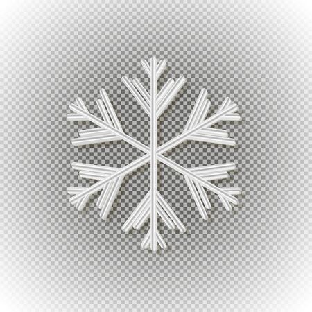 White volumetric snowflake with shadow on a transparent background. Great for New year and Christmas party posters, headers, seasonal wallpaper, winter background. Vector