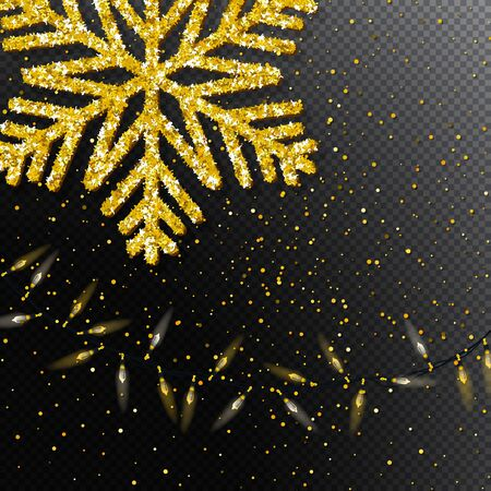 Merry Christmas and New Year pattern with realistic gold big snowflake, light bulb garland on transparent background. Top view. Great for horizontal posters, header for website. Vector