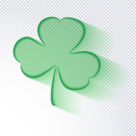 St. Patricks Day holiday background. Transparent outline clover leaf on a transparent background. Ideal for greeting card, poster and web template. Stylish modern icon shamrock. Vector