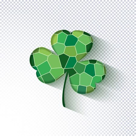 St. Patricks Day holiday background. Green mosaic clover leaf on a transparent background. Ideal for greeting card, poster and web template. Stylish modern icon shamrock. Vector