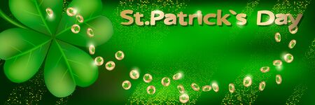 Saint Patricks day horizontal background with lettering, gold coins and  clover leaf on a green background. Great for greeting card, poster and web template, header for website. Vector illustration Ilustração