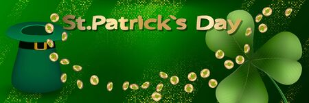 Saint Patricks day horizontal background with lettering, gold coins, hat and  clover leaf on a green background. Great for greeting card, poster and web template, header for website. Vector