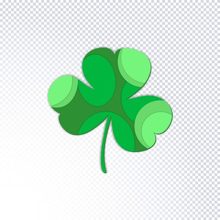 St. Patricks Day holiday background. Green clover leaves cut out of paper on a transparent background. Ideal for greeting card, poster and web template. Stylish modern icon shamrock. Vector
