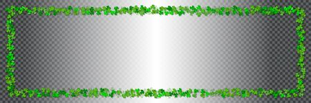 Saint Patricks day horizontal background. Green frame from green leaves of clover with shadow isolated on a transparent background. Ideal for greeting card, poster and web template. Vector